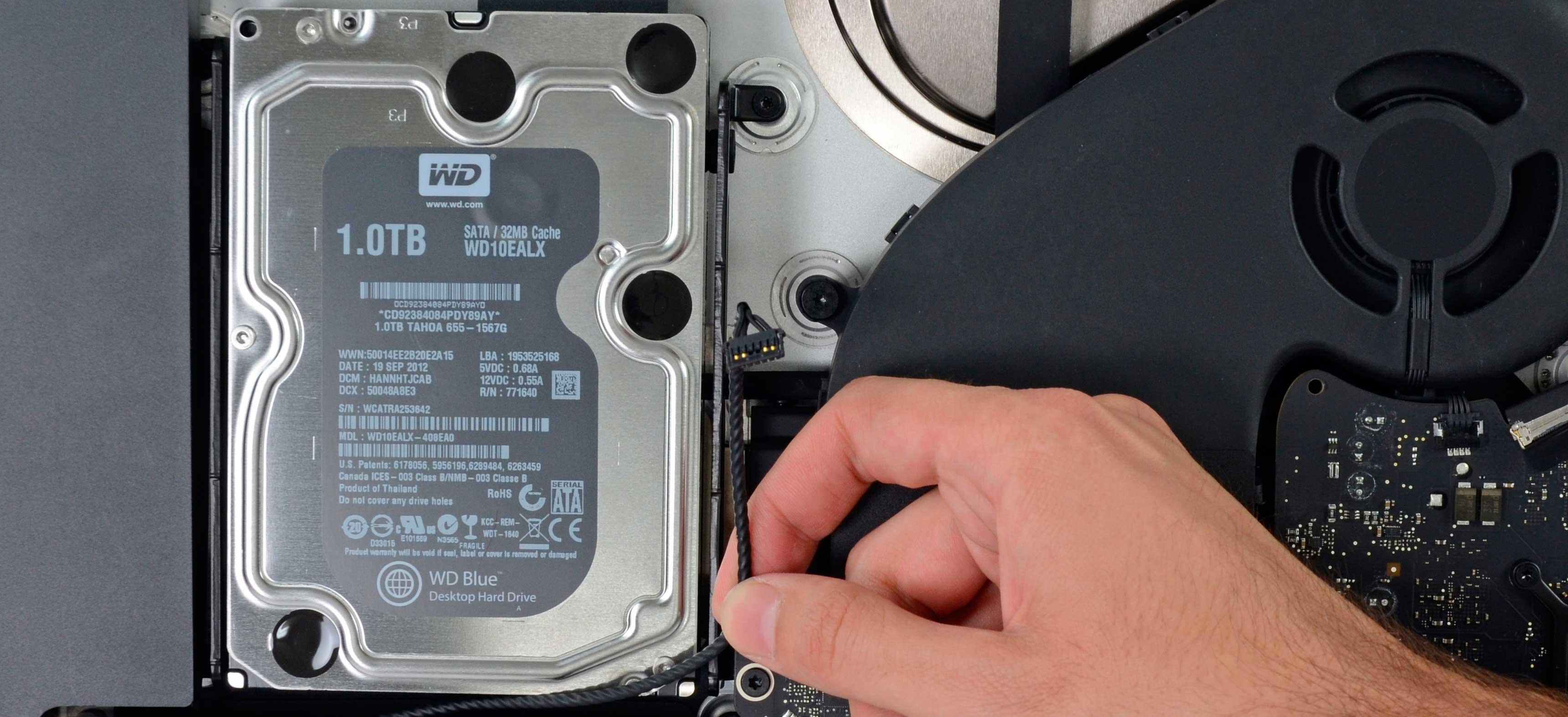 Замена жесткого диска, установка SSD iMac Retina