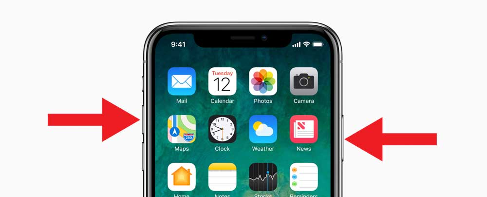 как сделать скриншот экрана на iPhone X, iPhone X фото экрана, принтскрин