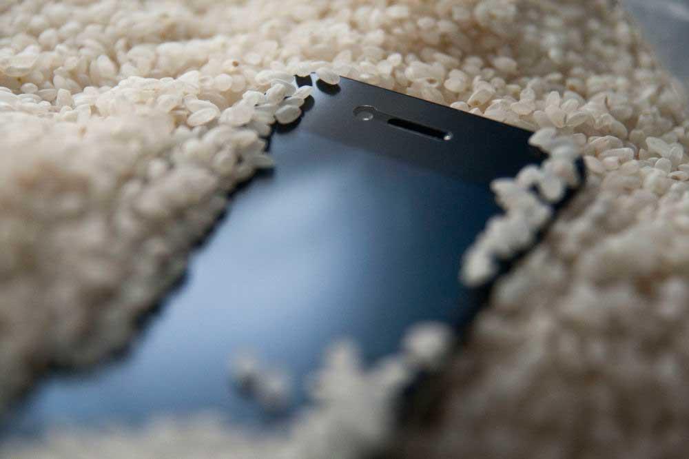 сушить iphone в рисе